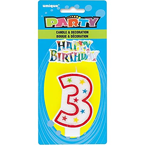 Número 3 del brillo cumpleaños Vela y decoración de la torta del feliz cumpleaños