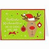 Knopfkarte für Weihnachtsgrüße - X-mas - Fröhliche Weihnachten - Rentier - 6
