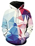 Loveternal Unisex Hoodie Bunte Kristall 3D Druck Kapuzenpullover Sport Gym Workout Pullover Hoodie Sweatshirt L/XL