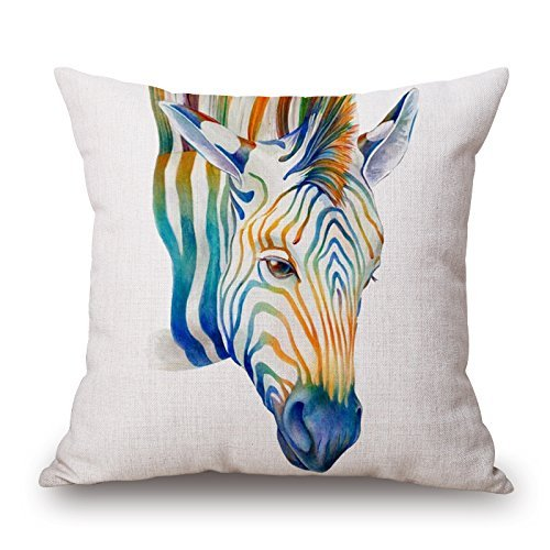 Harry wang Nordic Simple Watercolor Painting Animals Throw Pillow Case Personalized Cushion Cover Home Office Decorative Square Pillowcase es-Horse,45x45cm -