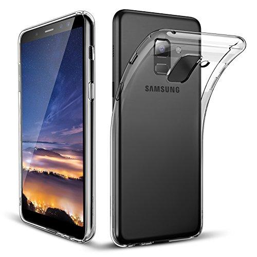 Coque Samsung Galaxy A5 2018 / A8 2018 Transparente, POOPHUNS Coque Protection Pour Samsung Galaxy A5 2018 / A8 2018 - [TPU+PC] Etui Housse, Cristal Limpide, Ultra Transparence, Anti choc, Anti-rayures, Trous Précis