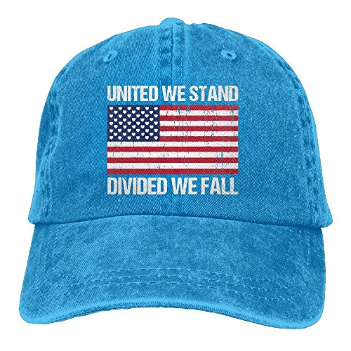 Hoswee Unisex Kappe/Baseballkappe, United We Stand Divided We Fall Flag Adjustable Denim Baseball Caps Cowboy Peaked Hats