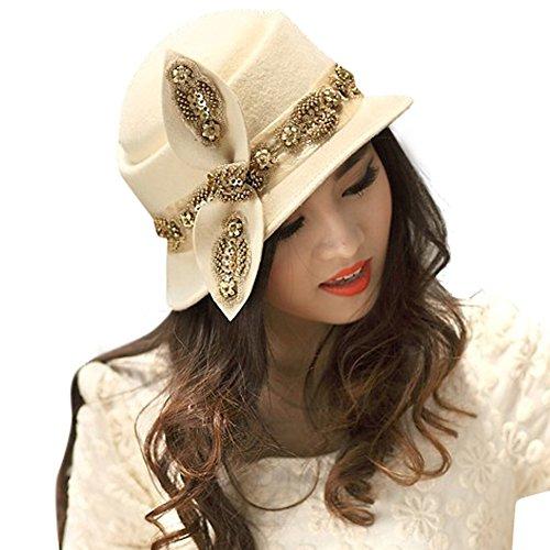 June's Young Chapeau Femme Vintage Classique Jazz Chapeau fedora de feutre/laine Beige