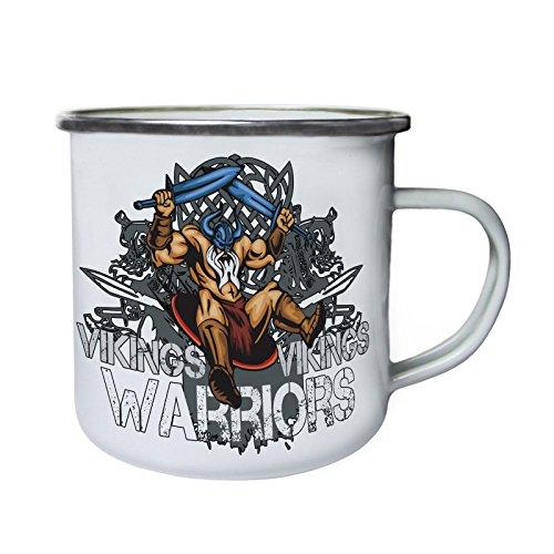 Guerreros vikingos enojados con espadas azules Retro, lata, taza del esmalte 10oz/280ml w716e