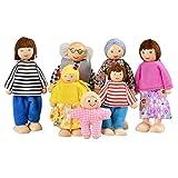 Smibie Puppenfamilie von 7 Puppen Kinderspielzeug aus Holz (A1)