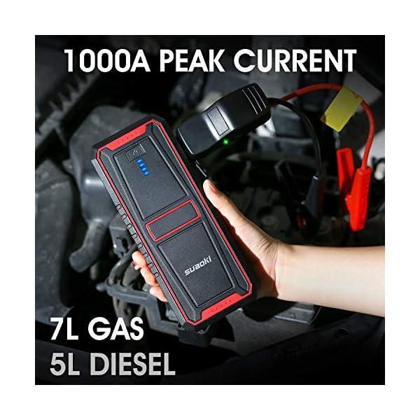 SUAOKI U17 Arrancador de Coches 1000A, 18000mAh arrancador para Coche (7L Gas, 5L Diesel), con Carga rápida, QC3.0, Type-C USB, V-0 Retardante de Incendio, Pinzas Inteligentes, LED Linterna