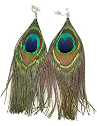 Genuine Funky Large Peacock Feather Fashion CLIP ON Earrings for Non Pierced Ears