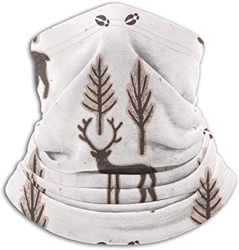 fuyon Winter Rustic Tree Reindeer Lino Cut Animals Wildlife Deer Holidays Ski Mask Cold Weather Face Mask Neck Warmer Fleece Hood Winter Hats