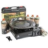 Camping Gaskocher 2,5KW + Koffer + 8 Gas-Kartuschen + Grillplatte von DeLuxStyle