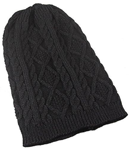 Frau Herbst-Winter-Hut-warmer Hut Modisch gestrickter Hut,Schwarz
