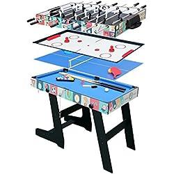 hj Table Multi Jeux 4 en 1 Pliante-Billard/Babyfoot/Hockey/Tennis de Table-121.5*61*81.5cm