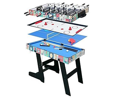 Table Multi Jeux 5 En 1 - HLC-Table Multi Jeux 4 en 1 Pliante-Billard/Babyfoot/Hockey/Tennis