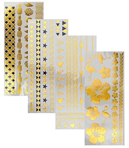 Tattoo Tatouage Temporaire Métallique Golden Metallic Gold Stickers de tatouage temporaire pour l'art corporel Formes dorées - SET L-A Temporary Tattoo Body Tattoo Sticker Set 4 in 1 - FashionLife