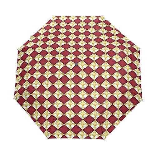 Soloatman Fleur de Lis Reise-Regenschirm, automatischer Schließung, UV-Schutz, Winddicht, leicht (Fleur Di Lis Gepäck)