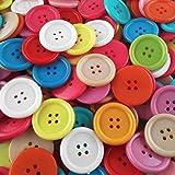 200 große, kunterbunt gemischte Vierloch Näh- und Bastelknöpfe aus Kunststoff - Durchmesser ca. 25 mm rund - Große Vorteilspackungen zum Nähen, Basteln und Dekorieren
