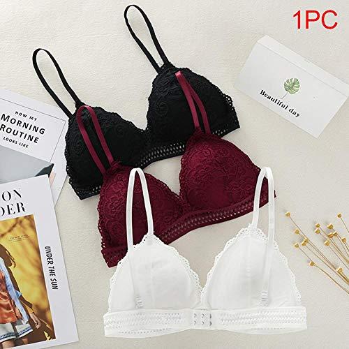 XFDDFC Mode Mädchen Drahtlose Weiches Triangel-Cup-Art-Spitze Nahtlose Frauen-Wäsche Dünne Bralette Tiefer V-BH Unterwäsche Weinrot - 5