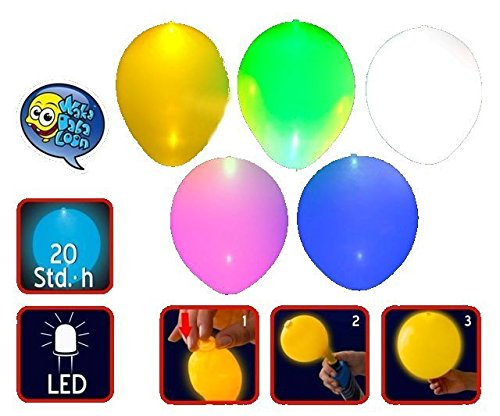 allbunt im 5-Farbmix inklusive Leuchtmittel und Batterien. Befüllbar mit Helium oder Luft! Indoor und Outdoor verwendbar ()