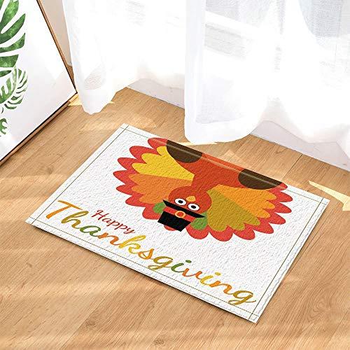 HTSJYJYT Cartoon Türkei Vogel für Thanksgiving Day Decor Bad Teppiche rutschfeste Fußmatte Boden Eingänge Innen Haustürmatte Kinder Bad Matte60X40CM Badzubehör (Ausschnitte Thanksgiving Türkei)