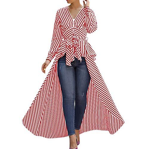 Linkay T Shirt Damen Langarm BluseUnregelmäßiger Streifen Tops Krawatte Oberteile Mode 2019 (Rot, Medium) (V-neck Kern)