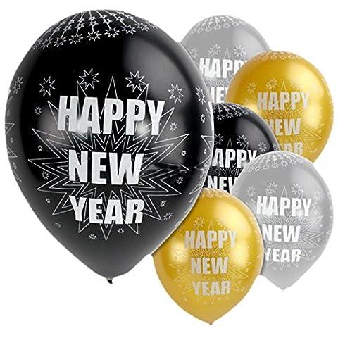 erdbeerloft - Silvesterdeko Glamour Happy New Year 6 Stk. Luftballon 28cm ungefüllt, Mehrfarbig