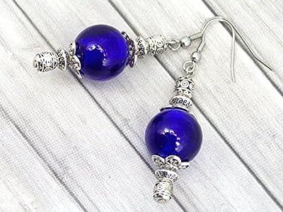 Boucles d'oreilles Thurcolas de la gamme Venezia en perles de verre de Murano bleu marine