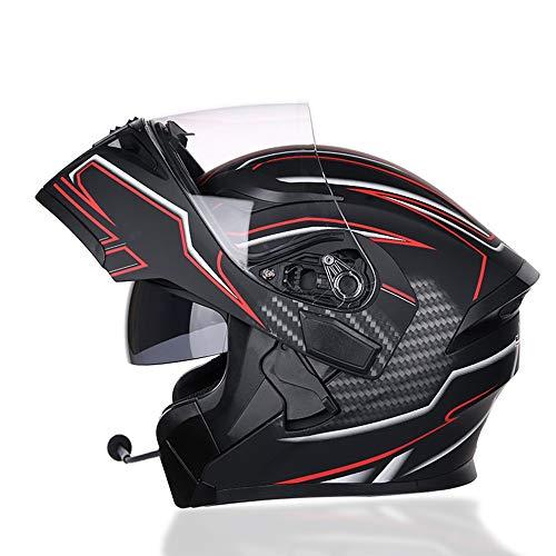 Gao Graffiti-Muster DOT-zertifizierter Motorradhelm Für Männer Und Frauen, Doppellinsenlokomotive, Voller Helm, Outdoor-Jethelm (mit Bluetooth-Mikrofon) Sicherheit (Farbe : Black, Size : M) -