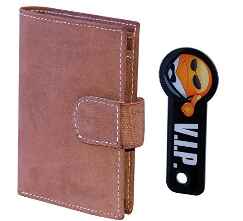 Extrem kompakte XXL Leder Geldbörse und Portemonnaie mit Platz für bis zu 18 Kreditkarten und Schlüsselfinder (Cognac)