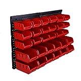 Bigbutterfly 30 PCS Parete Pannello scaffalature organizzatore Scatola di immagazzinaggio bin Caso Rack Impostato per Garage Fai da Te Piccoli Strumenti Rosso