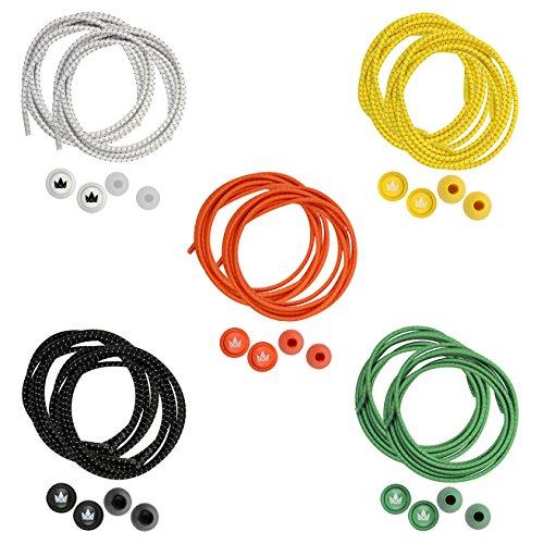 The friendly swede lacci per scarpe elastici e autobloccanti (5 paia) con inserti riflettenti (arancione+giallo+verde+bianco+nero)