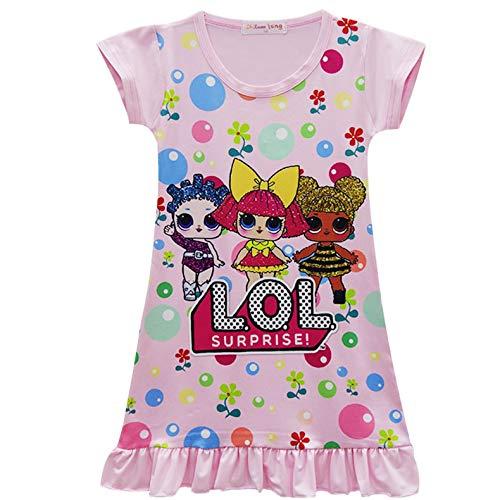 QYS Die Pyjama Party Girls LOL Überraschung Night Dress Nighty Nachthemd Pink Dress Pagent Theme,pink,110cm (Pagent Kleider Für Kinder)