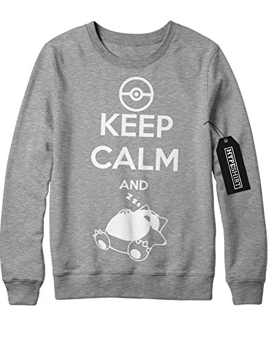 Sweatshirt Pokemon Go Keep Calm and Relaxo Team Rocket Jessie James Mauzi Kanto 1996 Blue Version Pokeball Catch 'Em All Hype X Y Nintendo Blue Red Yellow Plus Hype Nerd Game C210009 Grau S