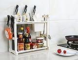 SYGA 2 Layer White Storage Shelf With 2-Height Adjustable Platform and 4-Side Hooks, Storage Rack Kitchen Cabinet Organizer