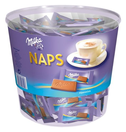 Milka Naps Latte Alpino, Cioccolata, Barrette, Dolciumi, Barattolo da 1000g