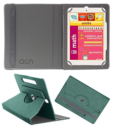 Acm Designer Rotating Leather Flip Case for Eddy Kids Learning Tab Cover Stand Turquoise  available at amazon for Rs.169