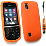Emartbuy ® Stylus Pack Für Nokia Asha 300 Mini Metallic Orange Stylus + Silicon Skin Cover / Case Orange + Lcd Screen Protector