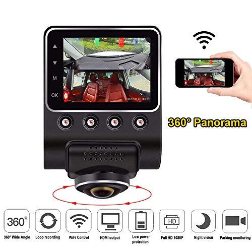 Videocamera per auto WiFi, 6,3 cm, 360 gradi, panoramica, Full View, HD, 1080p, videocamera da cruscotto, visione notturna, obiettivo fisheye