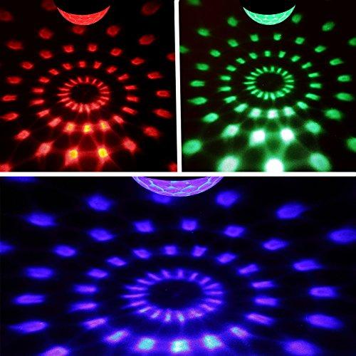 Yorbay LED Discokugel RGB Projektor Lichteffekte 7 Farben Party Lampe 5W Musikgesteuert mit Fernbedienung für Party Disco Bar Weihnachten Feier Halloween Dance DJ KTV Konzert - 4