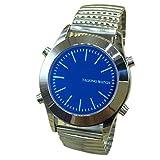 Reloj Parlante en Español para Invidentes o Personas Mayores Azul Dial, Banda Expandible