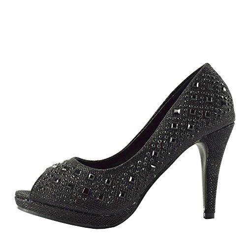 Kick Footwear - Donna Tacchi A Spillo Diamante Arredamento Open Toe Scarpe Da Sposa Nero