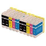 ZR-Printing 970XL Kompatibel Brother LC970 1000 Druckerpatronen mit Chip Hohe Kapazität Kompatibel für Brother DCP-130C DCP-135C DCP-150C DCP-330C MFC-235C MFC260C Drucker (4 Schwarz,2 Cyan,2 Magenta,2 Gelb)