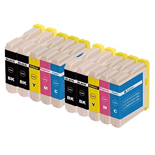 ZR-Printing 970XL Kompatibel Brother LC970 1000 Druckerpatronen mit Chip Hohe Kapazität Kompatibel für Brother DCP-130C DCP-135C DCP-150C DCP-330C MFC-235C MFC260C Drucker (4 Schwarz,2 Cyan,2 Magenta,2 Gelb) (Oem-kompatibel-tinte)