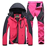 Donna Giacca impermeabile e Pantaloni da Escursionismo Sport All'Aperto Anti-Vento Rose XXL