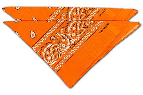 FashionCHIMP Nicki-Halstuch aus 100{105580e0e2fbc3572d6d7e436c56a1135adf642286b1df625f5bbb34f17cb0a7} Baumwolle im 2er Set, Unisex Bandana, AZO-Frei (Orange)