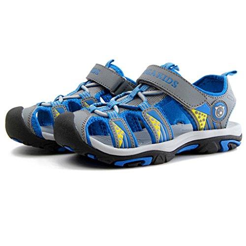 Eagsouni® Kinder Sommer Geschlossene Sandalen Klettverschluss Outdoor Weicher Jungen Trekkingsandalen Wanderschuhe Breathable Strand Schuhe Blau