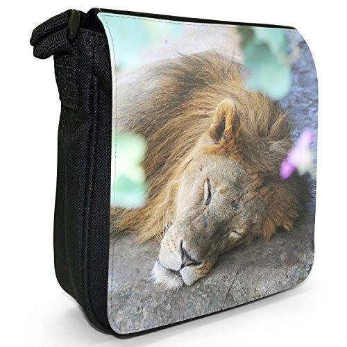 African Lion Big Cat-Borsa a tracolla in tela, piccola, colore: nero, taglia: S Nero (Lion Sleeping On Ground)