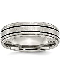ICE CARATS Titanium Enameled Flat 6mm Wedding Ring Band Fashion Jewelry Gift Set For Women Heart