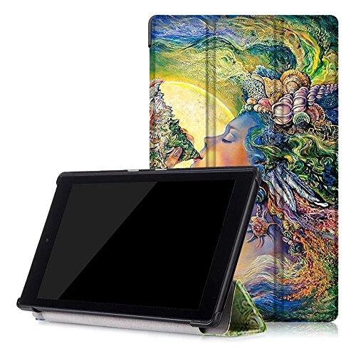 Schutzhülle, Tablet Cover für Barco Amazon Fire HD82016, Ultra Slim PU Leder Flio Case Ständer Cover für neue AMAZON FIRE HD 8(6. Generation-2016Version) Tablet Girl of sea New Fire HD 8 (6th Generation 2016 release) ()