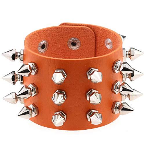 YouQDOLL Juguete Pulseras de cuero con remaches de clavos de cúspides góticos delicados Pulsera punky para hombres de mujeres naranja