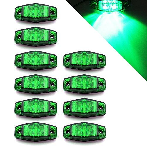 10 x 24 V 2 LED côté Outline Vert Feux de gabarit Camion benne Remorque caravane Camper Bus avec cadre chromé