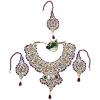 Mogul Innen Damen Fashion Halskette sets- indischen Bollywood Designer Stein Bridal Jewelry Blau